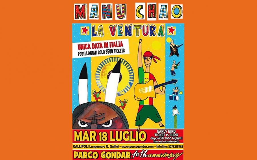 Manu Chao arriva al Parco Gondar di Gallipoli per l'unica data italiana del suo tour