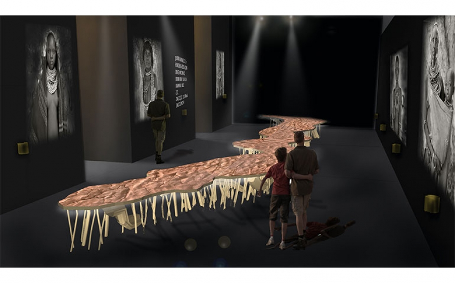 MOSTRA: SE A PARLARE NON RESTA CHE IL FIUME. Ambiente sensibile per le tribù della valle dell'Omo Render L'installazione artistica di Studio Azzurro e della fotografa Jane Baldwin a sostegno di Survival International, il movimento mondiale per i popoli indigeni.
