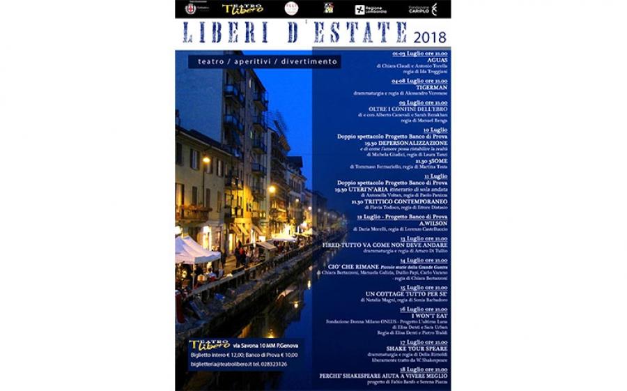 Dal 1 al 18 luglio presso il Teatro Libero di Milano torna la rassegna Liberi d'estate