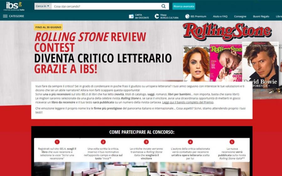 IBS.it e il mensile Rolling Stone lanciano il concorso letterario Rolling Stone Review Contest