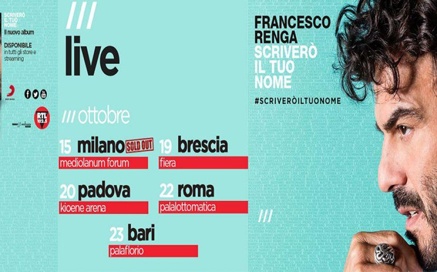 Francesco Renga: Scriverò il tuo Nome tour arriva anche a Milano