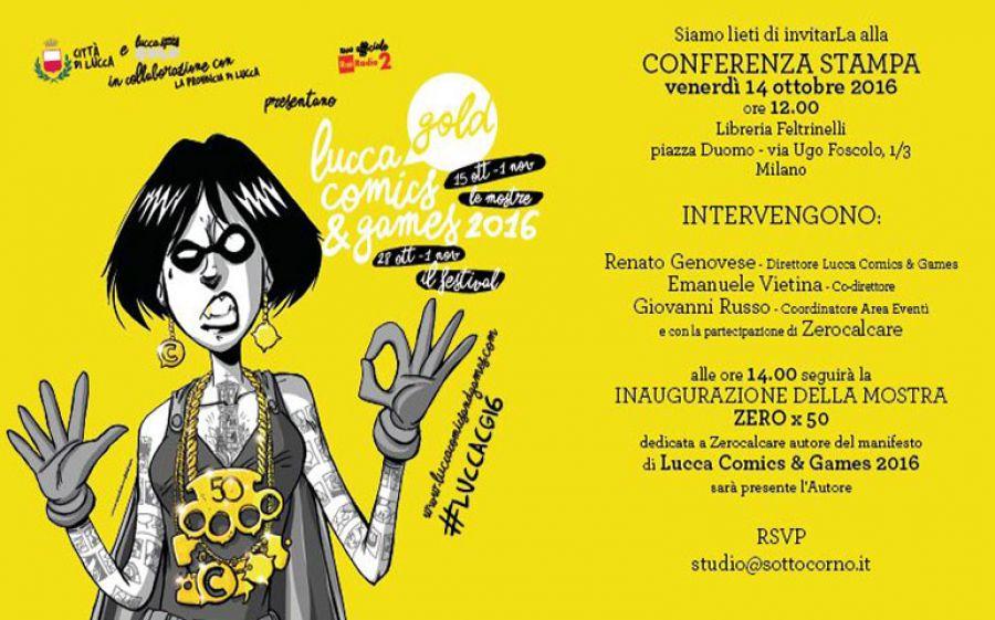 Inugurazione mostra Zero X 50 di Zerocalcare a Milano per la 50esimo edizione del Lucca Comics & Games