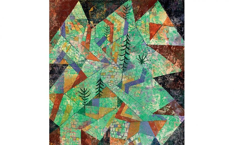 """Paesaggio in verde con mura, detto """"Costruzione boschiva"""", 1919"""